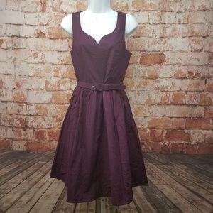 ModCloth Size S Purple Belted A- Line Dress